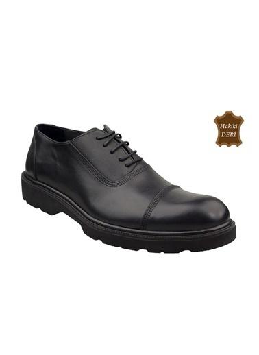 Wolfland Hakiki Deri Bağcıklı Ayakkabı Siyah